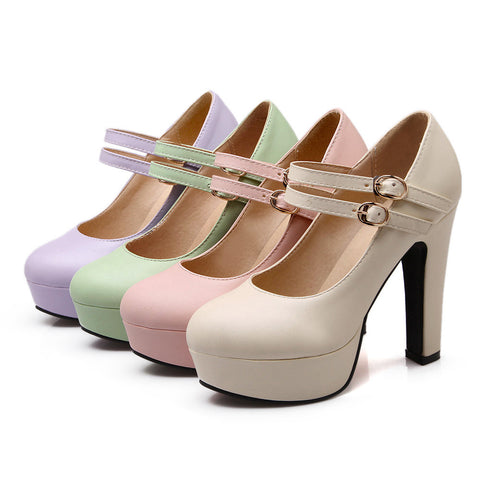 Ankle Straps Pumps Platform High Heels Women Shoes 9351