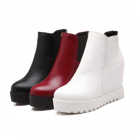 Pu Leather Wedges Boots Women Shoes Fall|Winter
