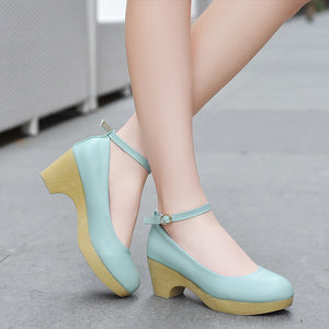Bowtie Ankle Straps Women Pumps Round Toe High Heels Platform Shoes Woman