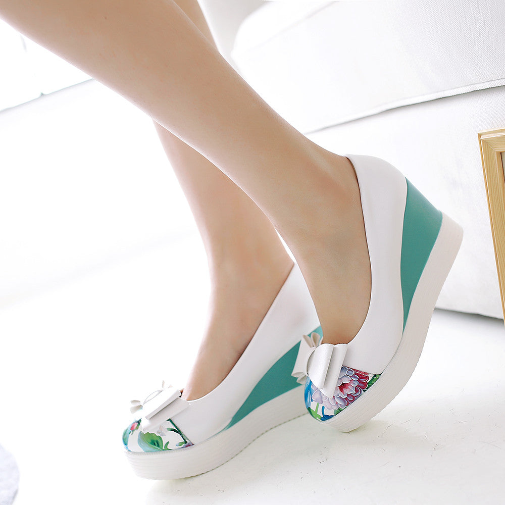 Bow Women Wedges Platform Shoes High Heels