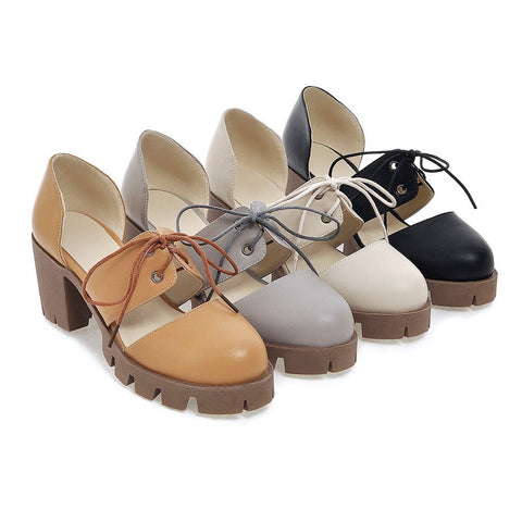 Round Toe Women Pumps Platform Lace Up High-heeled Shoes
