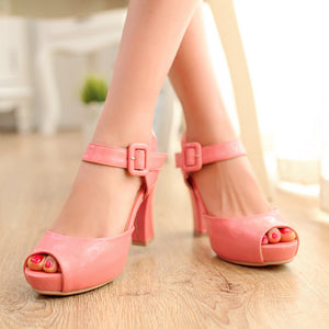 Peep Toes Platform Sandals Buckle Women Pumps High Heels Shoes Woman