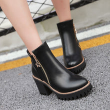 Load image into Gallery viewer, Round Toe Zipper High Heels Ankle Boots Thick Heel Women Shoes 76065956