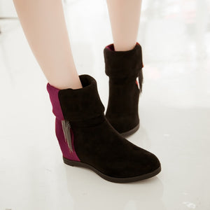 Tassel Wedges Boots Patchwork Platform Shoes Woman