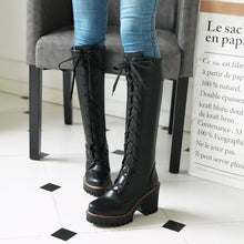 Load image into Gallery viewer, Women Lace Up Knee High Boots High Heels Motorcycle Boots Chunky Heel 3176