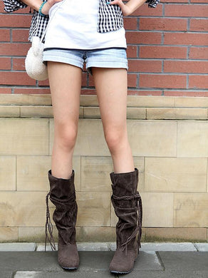 Velvet Tassel Flats Knee High Boots Women Shoes 3482