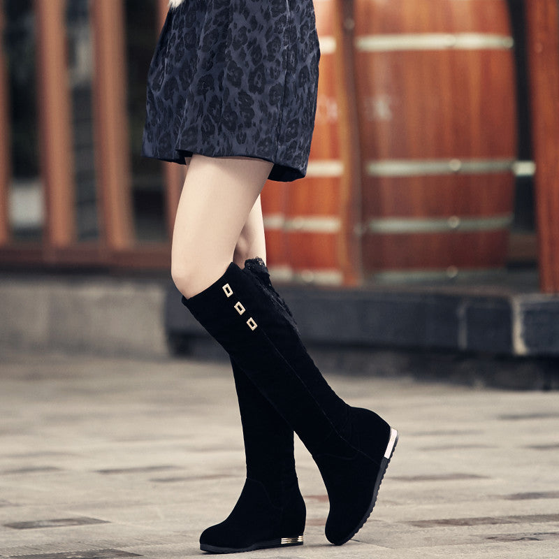 Black Women Knee High Boots Lace Straps Wedges Shoes Woman 2016 3468