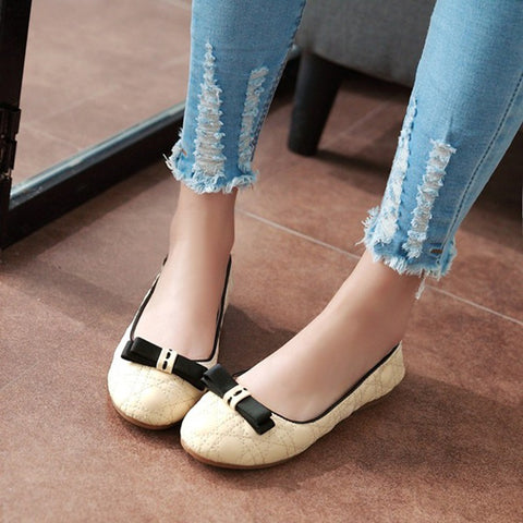 Cute Bow Round Toe Women Flats Casual Shoes