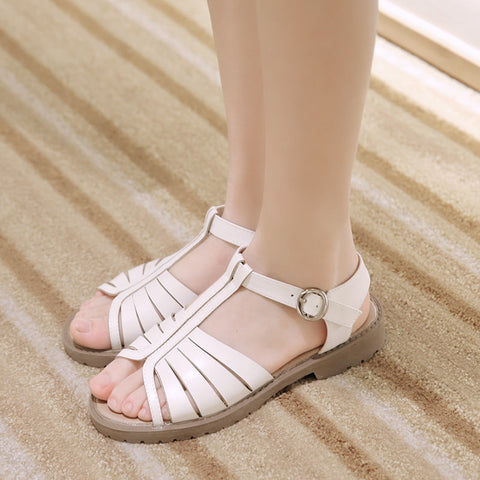 T Straps Sandals PU Women Shoes