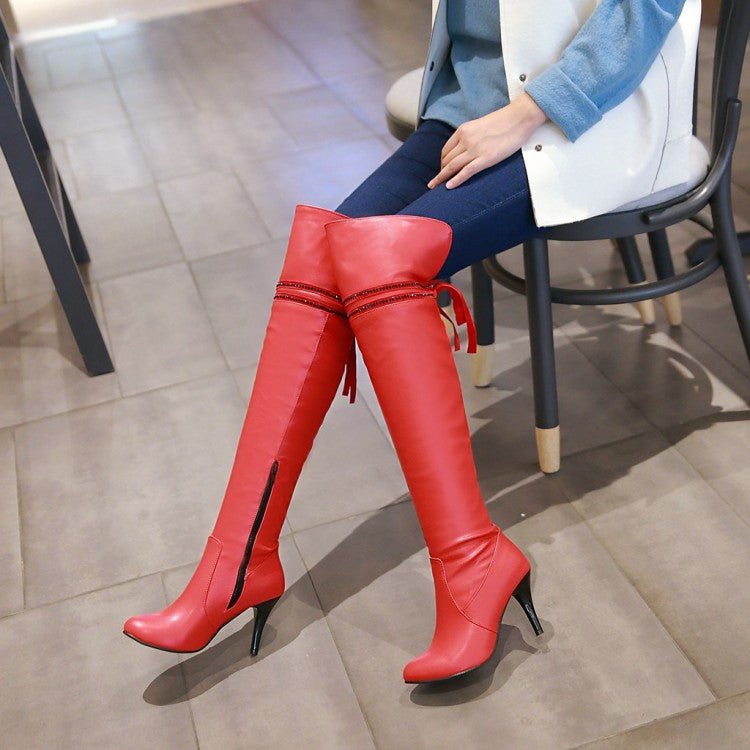 Pointed Toe Rhinestone Knot Over the Knee Boots Spike Heel Wedding Shoes 5810