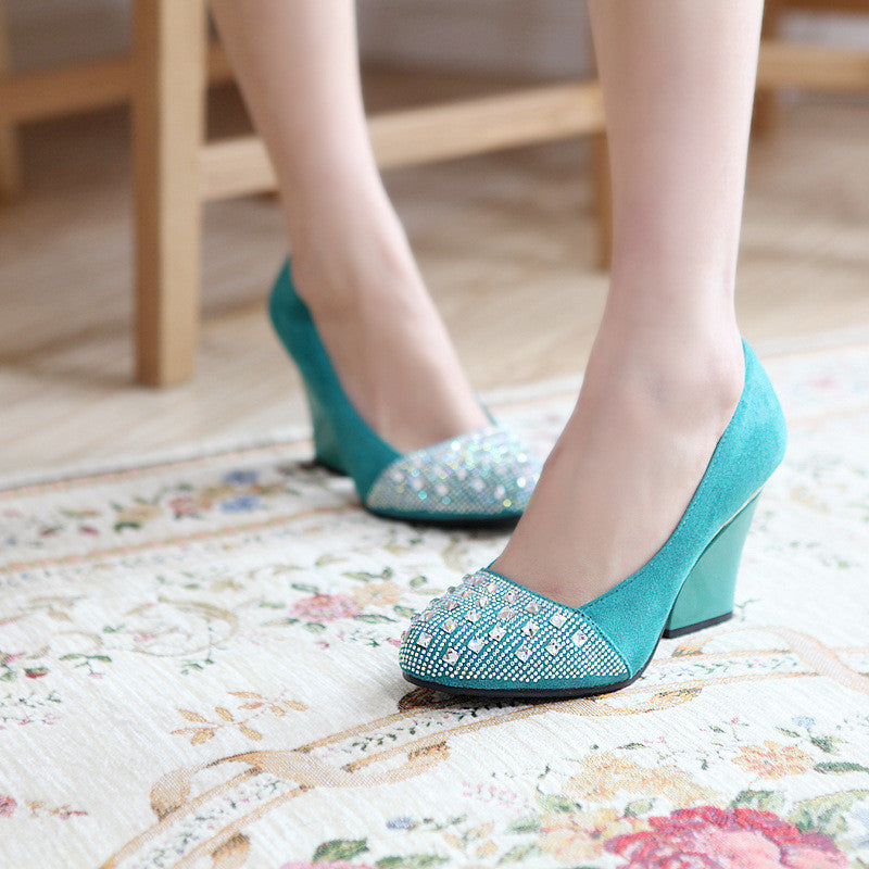 Rhinestone Women Pumps High Heels Thick Heeled Artificial Suede Shoes Woman