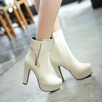 Women Side Zipper High Heels Platform Ankle Boots Thick Heeled 8288
