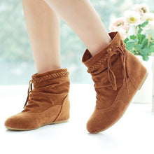 Load image into Gallery viewer, Tassel Flats Ankle Boots Velvet Women Shoes 6031