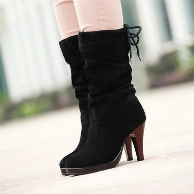 Women Mid Calf Boots High Heels Platform Shoes Woman 2016 3456