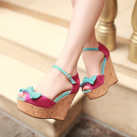 Bowtie Platform Sandals Ankle Straps Wedges Women Pumps High Heels Shoes Woman