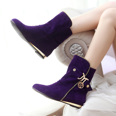 Faux Suede Zipper Flat Ankle Boots Wedge Heel Women Shoes 7862