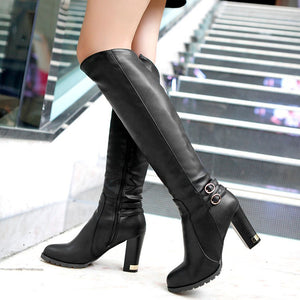 Women Pu Leather Buckle Over the Knee Boots High Heels 7285