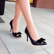 Load image into Gallery viewer, Womens High Heel Spike Shoes Pointed Toe Bow Lady Pumps Party Dress Shoes