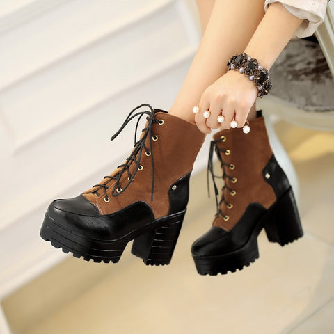 Round Toe Lace Up Platform Ankle Boots Chunky Heel Shoes 2831