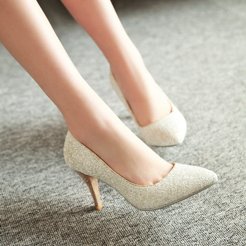 Pointed Toe Women Pumps Spike High Heels Sequined Wedding Shoes Woman