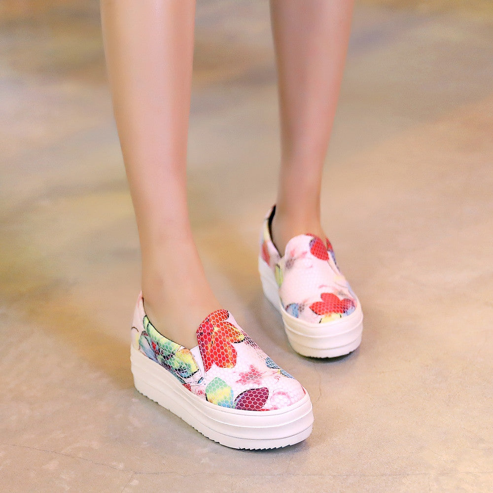 Flower Printed Wedges Platform High Heels Women Shoes 2773