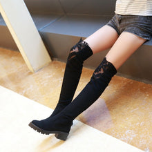 Load image into Gallery viewer, Elastic Lace Thigh High Boots Black High Heels Shoes Woman 3330