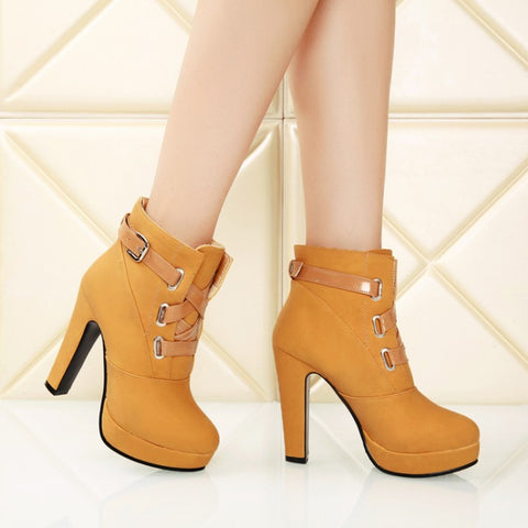 Buckle Women Ankle Boots Platform High Heels Shoes Woman 2016 3370
