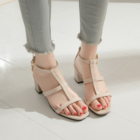 Patent Leather Gladiator Sandals Chunky Heels 8517