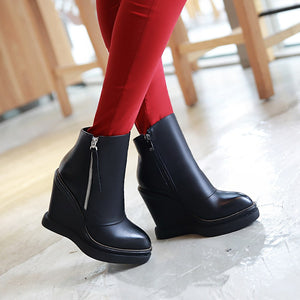 Zipper Wedges Boots High Heels Women Shoes Fall|Winter 8904