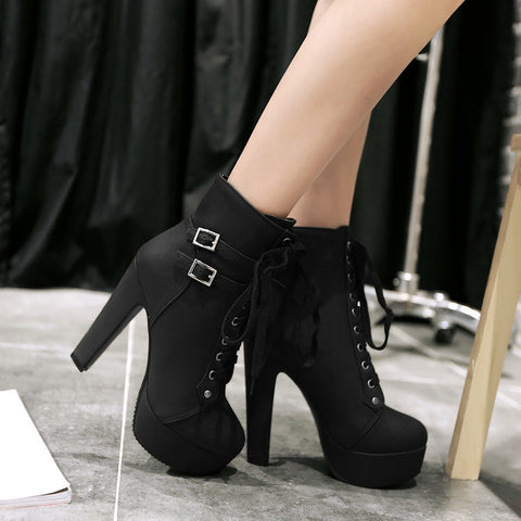 Women Lace Up Buckle Belt High Heels Platform Ankle Boots 6683