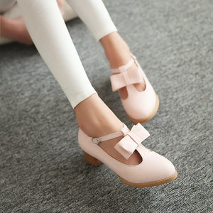 Bow T Straps Women Pumps High Heels Shoes 1256