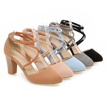 Load image into Gallery viewer, Round Toe Summer Sandals Pumps High-heeled Shoes Woman