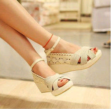 Load image into Gallery viewer, Women Ankle Strap Linen Wedge Sandals Platform Shoes 6715