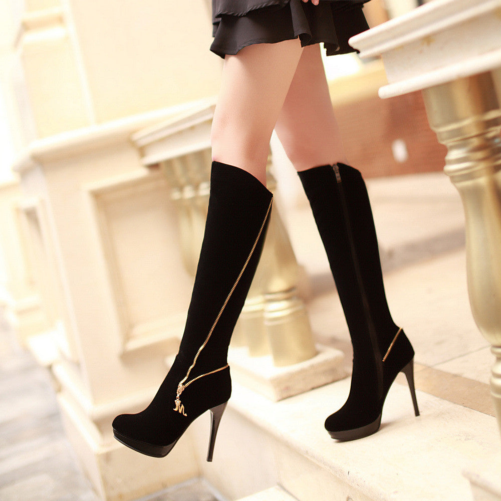 Women Knee High Boots Platform Black Zipper High Heels Stiletto Heel Shoes Woman 2016 3562