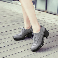 Load image into Gallery viewer, Soft Leather Women Pumps Round Toe High Heels Platform Shoes Woman
