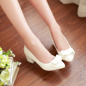 Women Pumps Pointed Toe Bowtie High Heels Thick Heel Shoes Woman 3422