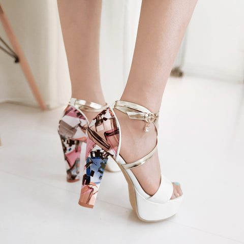 Fashion Printed Ankle Straps Sandals Pumps Platform High Heels Women Dress Shoes 6603