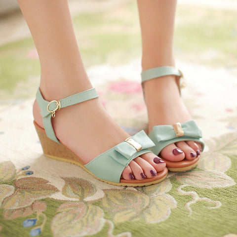 Bowtie Platform Sandals Ankle Straps Women Wedges Shoes Woman