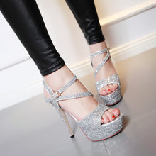 Load image into Gallery viewer, Sequin Sandals Women Pumps Platform Party High-heeled Shoes Woman