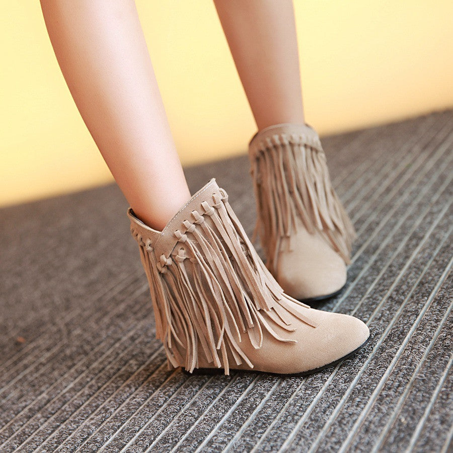 Tassel Wedges Short Boots Women Shoes