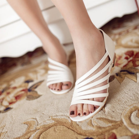 Women Pu Leather Gladiator Sandals Flats Low Wedge Heel 7840
