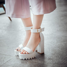 Load image into Gallery viewer, Buckle Platform Sandals Women Pumps High Heels Dress Shoes Woman