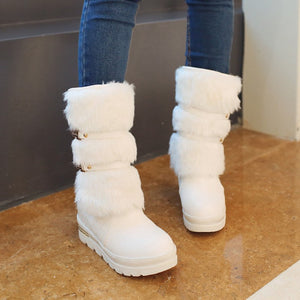 Fur Women Snow Boots Wedges Platform Rhinestone Winter Shoes Woman 2016 3462