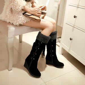Suede Tassel Fur Lining Knee High Boots Wedge Heel 3270