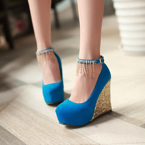 Rhinestone Women Wedges Ankle Straps Platform Shoes