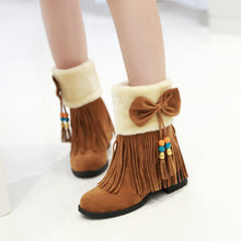 Load image into Gallery viewer, Fashion New 2016 Women Snow Boots Shoes with Tassel and Bow 4165