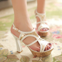 Load image into Gallery viewer, Sequin-High-Heels-Sandals-Women-Pumps-Platform-Shoes 8897