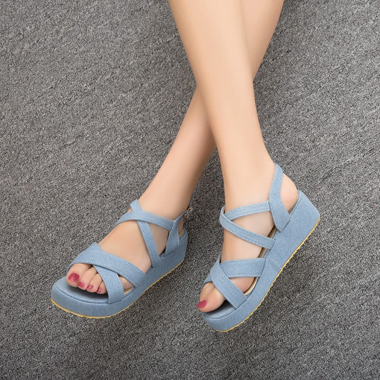 2377c532a0a Buckle Ankle Wrap Denim Platform Gladiator Sandals 2992 – Shoeu