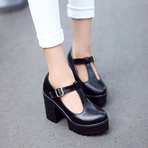 T Strap High Heels Women Platform Pumps Chunky Heel 9571