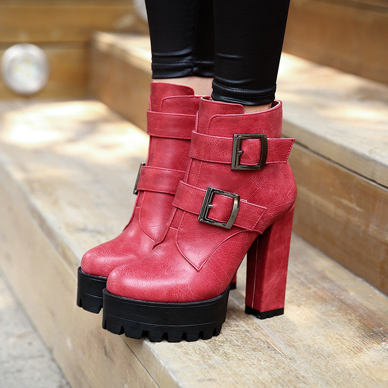Buckle Chunky Heel Pumps Ankle Boots High Heels Women Shoes 6306